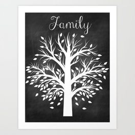 Family Tree Black and White Art Print