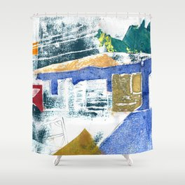 Abstract Building Blue Shower Curtain