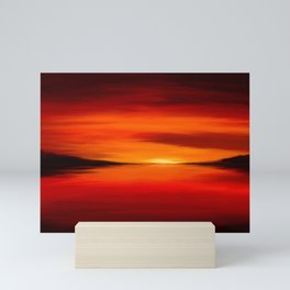 Painting of a red seascape Mini Art Print