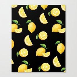 Lemons on Black Canvas Print