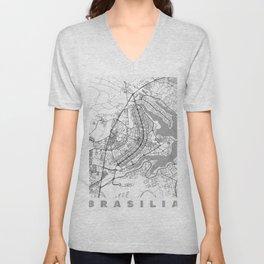 Brasilia Map Line Unisex V-Neck