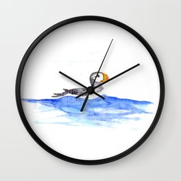 horned puffin Wall Clock