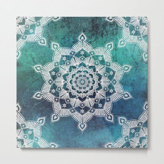 Aqua Spirit Mandala Turquoise Blue Green White Metal Print