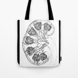 Anatomy Series: Kidney Renal Flowers Tote Bag