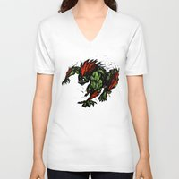 street fighter V-neck T-shirts featuring Blanka Rush! - Street Fighter by Peter Forsman