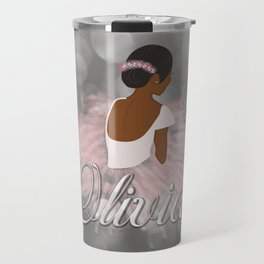 African American Ballerina Dancer Personalized Name OLIVIA Travel Mug