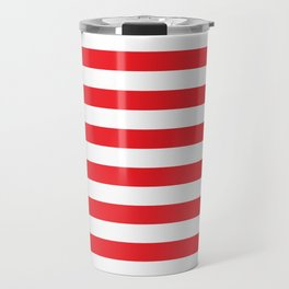 Horizontal Red Stripes Travel Mug