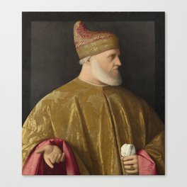 Portrait of the Doge, Andrea Gritti by Vincenzo Catena. Canvas Print