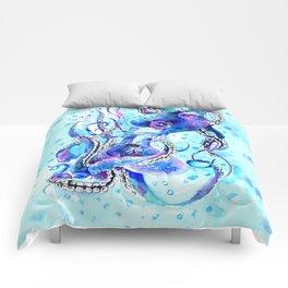 Octopus, Turquoise Blue aquatic Beach design Comforters