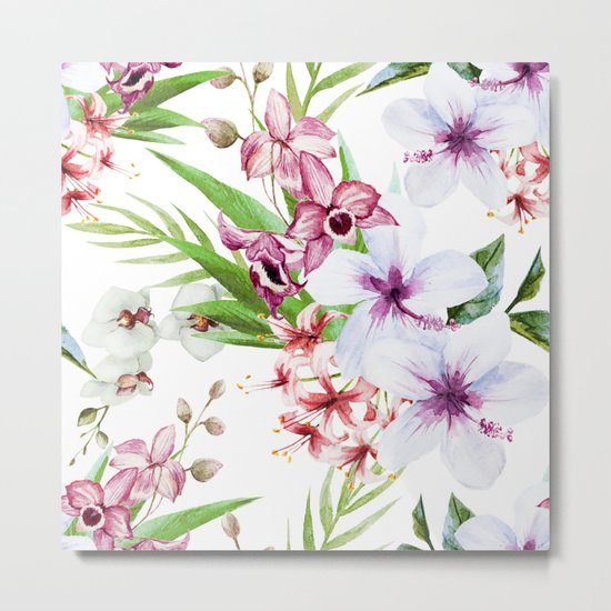 Tropical Floral Pattern 06 Metal Print