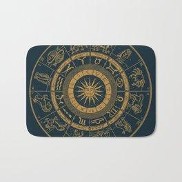 Vintage Zodiac & Astrology Chart | Royal Blue & Gold Bath Mat