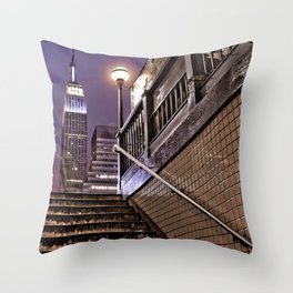 Empire State Subway - New York Photography Throw Pillow