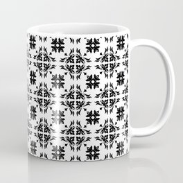 Black & White Floral Tile Pattern Coffee Mug