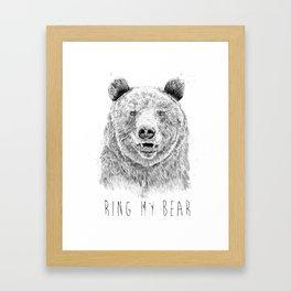 Ring my bear (bw) Framed Art Print