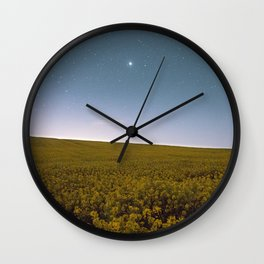 Fields of Yellow, Stars and Blue Wall Clock