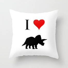 I Love Dinosaurs - Triceratops Throw Pillow