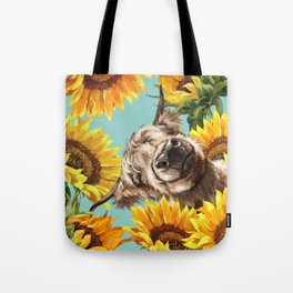 Highland Cow with Sunflowers in Blue Tote Bag