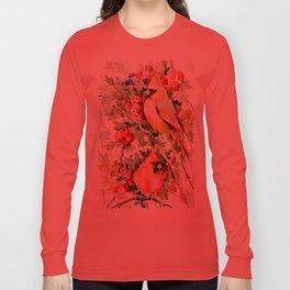 Cardinal Birds and Hawthorn Long Sleeve T-shirt