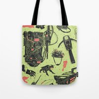 ghostbusters Tote Bags featuring Artifacts: Ghostbusters by Josh Ln