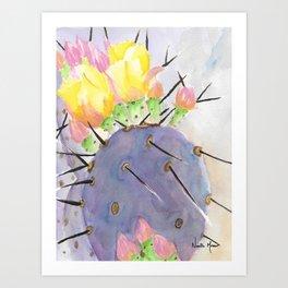 Watercolor Cute Purple Cactus With Flowers Art Print