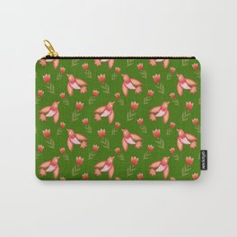 Pretty cute little wild canary birds, red blooming garden tulips, feminine nature flowers dark green pattern. Hello spring. Gift ideas for tulip lovers. Botanical floral animal artistic design. Carry-All Pouch