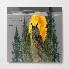 OWL WITH FULL MOON & PINE TREES GREY ART Metal Print