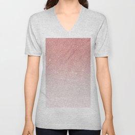 Elegant blush pink faux glitter ombre gradient pattern Unisex V-Neck