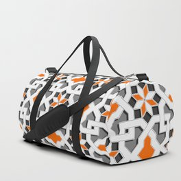 black, white, grey, orange -  Oriental design - orient  pattern - arabic style geometric mosaic Duffle Bag