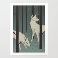 wolves Art Prints featuring Wolves by James White