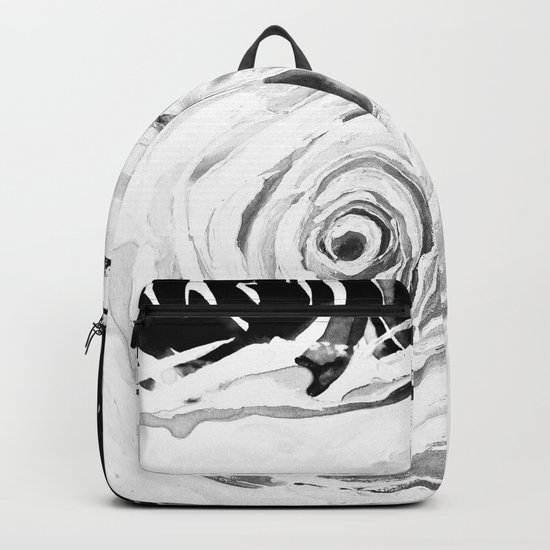 Roses For A Romantic Heart, Black and White Backpack