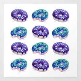 Crying donut pattern Art Print