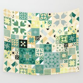Teal Quilt Pattern Wall Tapestry