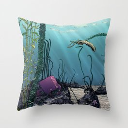 Pink cube travel #1 Findings under the sea Throw Pillow