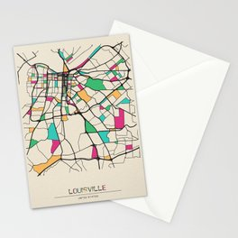Colorful City Maps: Louisville, Kentucky Stationery Cards
