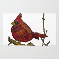 cardinal Area & Throw Rugs featuring Cardinal by artworkbyemilie