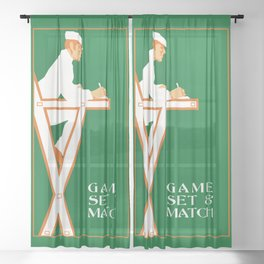 Game set and match retro tennis referee Sheer Curtain