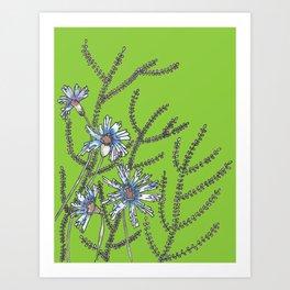 Blue Flower Garden Abstract Design Art Print