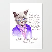 karl lagerfeld Canvas Prints featuring Fashion Mr. Cat Karl Lagerfeld and Chanel by Smog