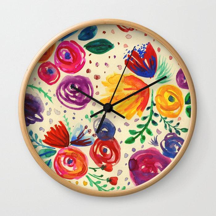 Summer Fruits Floral Wall Clock