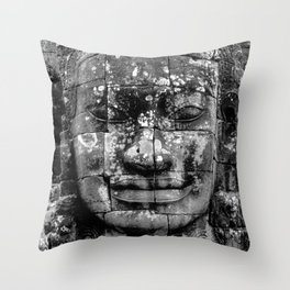 Avalokiteshvara face in angkor wat Throw Pillow