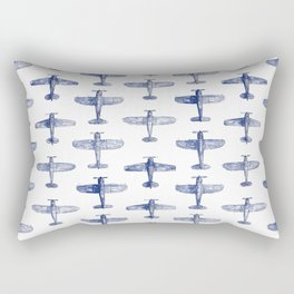 Blue Watercolor Airplanes Rectangular Pillow