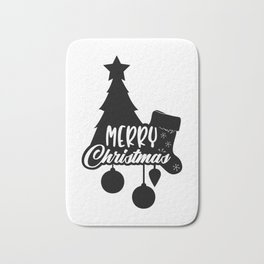 Merry Christmas Tree Stocking Ornaments Bath Mat
