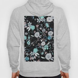 Abstract teal white black country modern floral Hoody