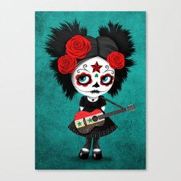 Day of the Dead Girl Playing Syrian Flag Guitar Canvas Print