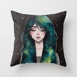 Galaxy hair series 3/4 Throw Pillow