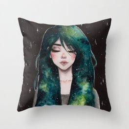 Galaxy hair series 3/4 Throw Pillow