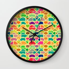 Bricks and waves in bright colors Wall Clock