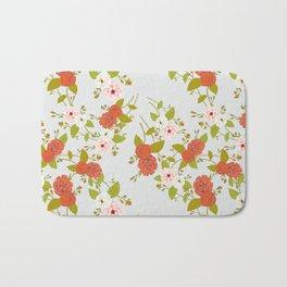 Climbing Roses, Crimson, Green, Pink and Grey Bath Mat