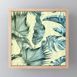 Simply Island Mod Palm Leaves on Pale Yellow Framed Mini Art Print