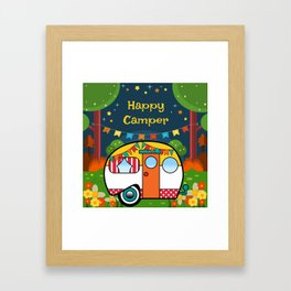 Happy Camper Retro RV Framed Art Print